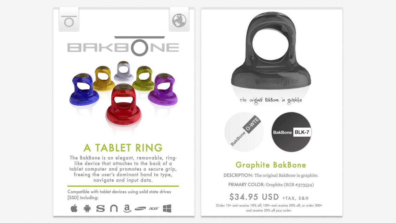 www.thebakbone.com mobile home and product browser