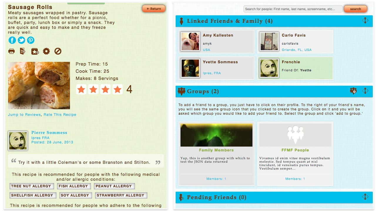 foodformyfriends.com screenshots two